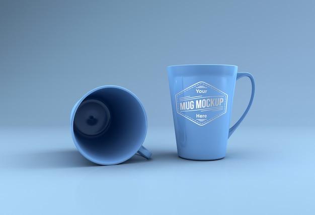 두 개의 키 큰 머그컵 모형 3d 렌더링 절연