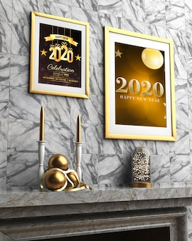 Two thematic frames on wall for new year night