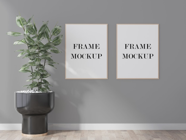 Two thin picture frames on grey wall 3d rendering mockup