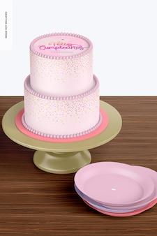 플레이트 모형이 있는 2단 케이크