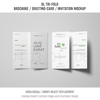 Two trifold brochure or invitation mockup