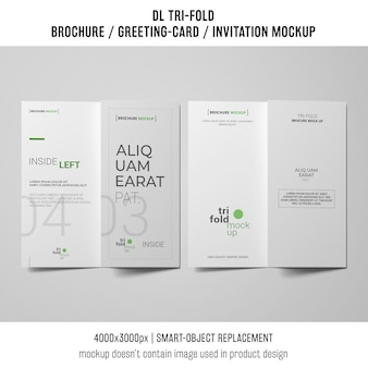 Two trifold brochure or invitation mockups next to each other