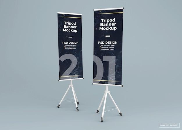 두 개의 삼각대 배너 스탠드 모형