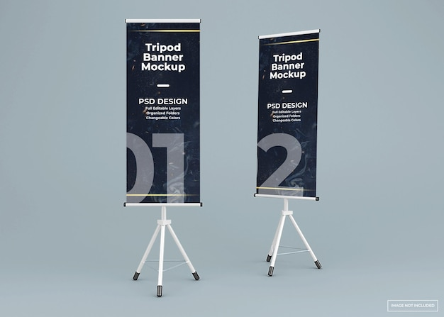 두 개의 삼각대 배너 스탠드 모형 프리미엄 PSD 파일