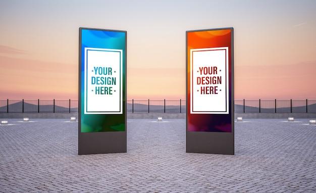 Two vertical billboard mockup outdoor 3d rendering