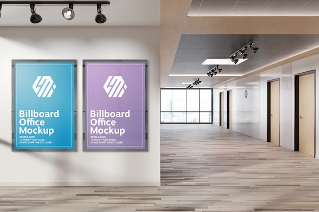 Two vertical billboards hanging on office wall mockup