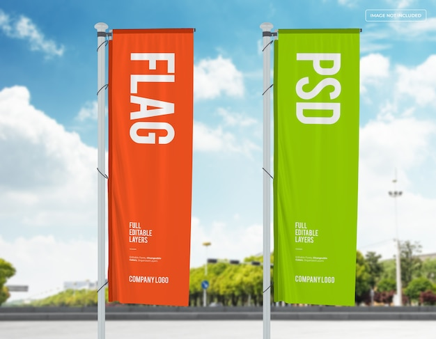 Two vertical flags mockup design on street