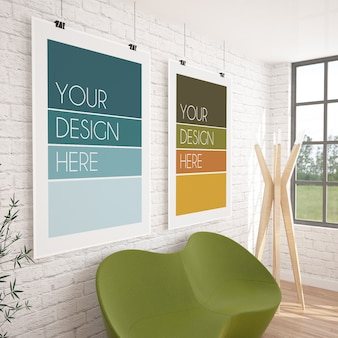 현대적인 인테리어에 두 개의 수직 교수형 포스터 목업