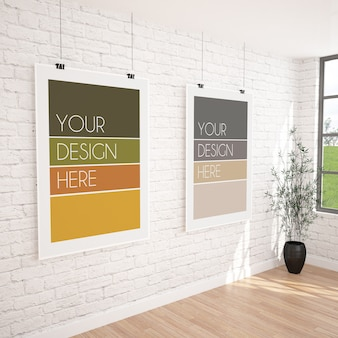 Two vertical hanging posters mockup in modern gallery interior