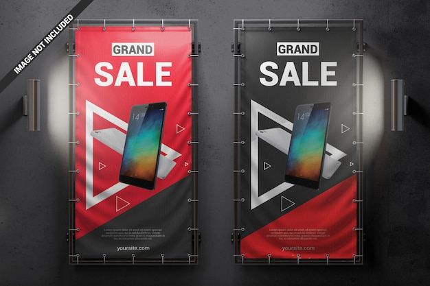 Two vertical vinyl banners on the wall mockup