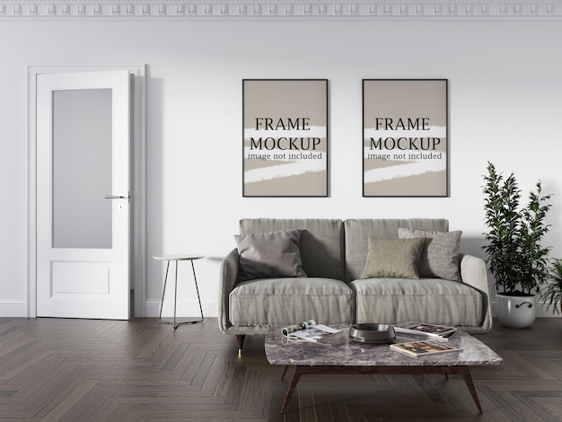Two wall frames mockup on white wall