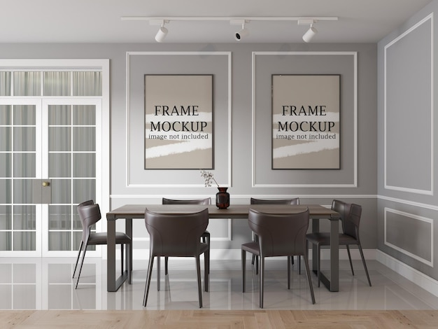 Two wall frames in neo classical interior Premium Psd