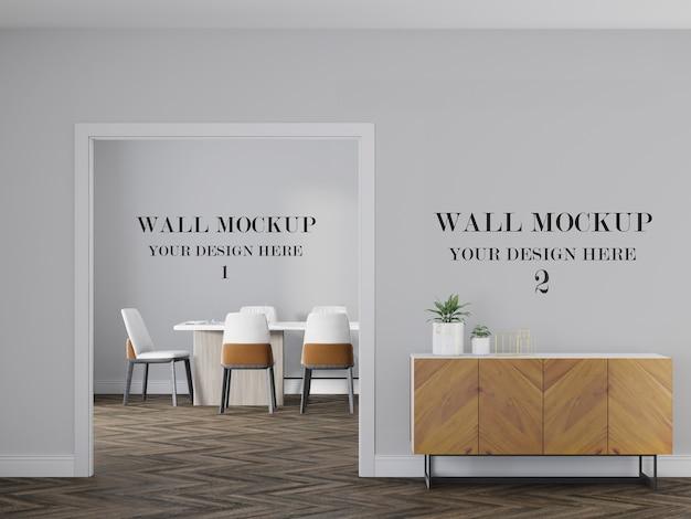 인테리어 디자인을위한 두 개의 벽 모형