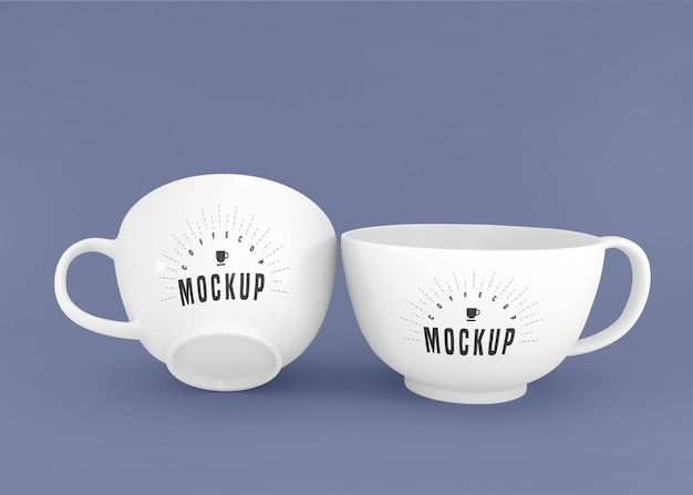 Two white coffee cup psd mockup