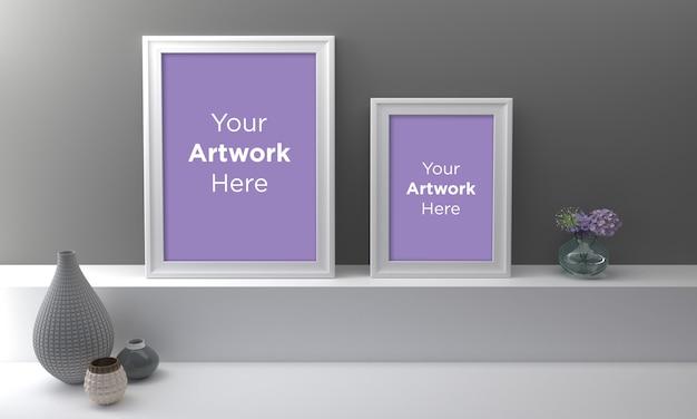 두 개의 흰색 빈 사진 프레임 이랑 디자인