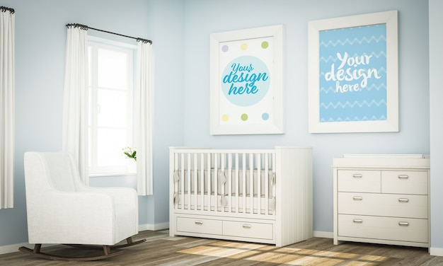 Two white frames mockup on blue baby room 3d rendering