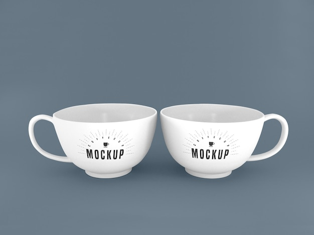 Two white mugs mockup