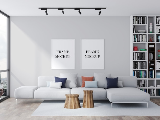 Two white picture frames mockup in beautiful bright living room