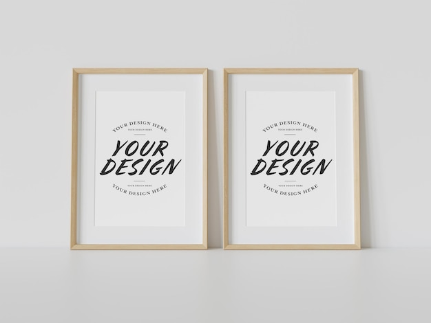 Two wooden frames leaning on floor mockup