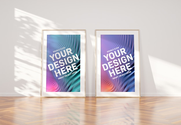 Two wooden frames leaning in interior mockup