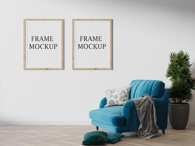 Two wooden frames mockup in 3d rendering