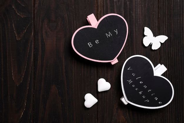 Two wooden hearts mockup