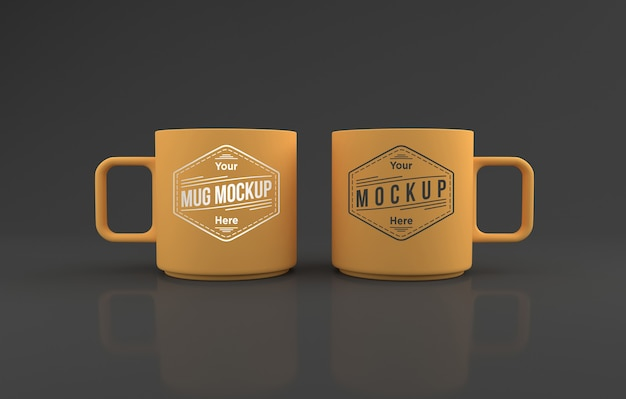 Two yellow mugs mockup 3d rendered isolated