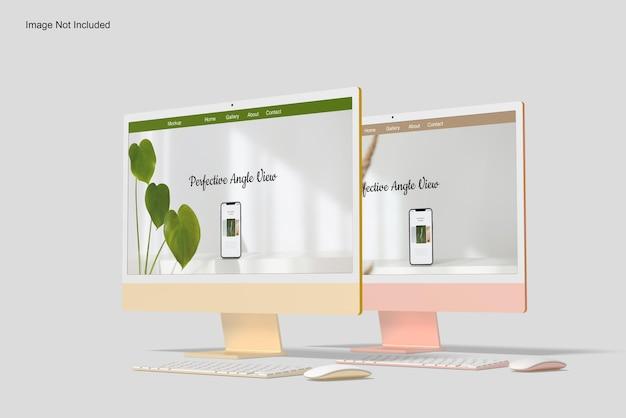Мокап экрана рабочего стола twocomputer