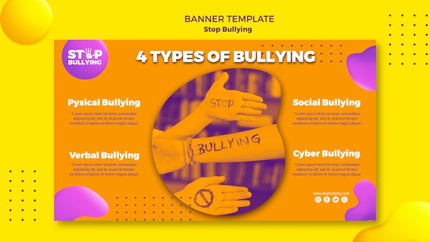 Types of bullying banner web template