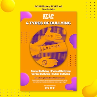 Types of bullying flyer print template