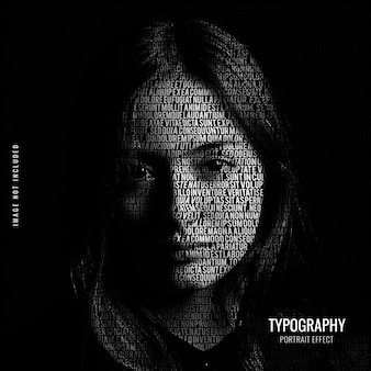 Typography portrait effect template