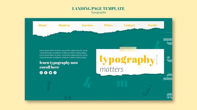 Typography service landing page template