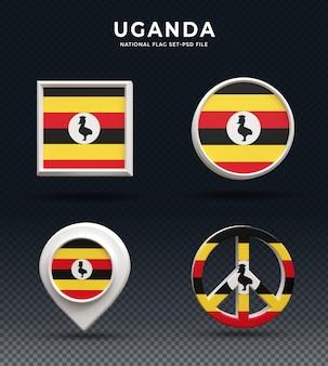 Кнопка купола 3d рендеринга флаг уганды и на глянцевой базе