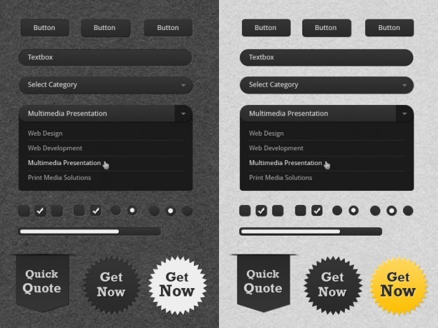 Ui kit with badges in white and black