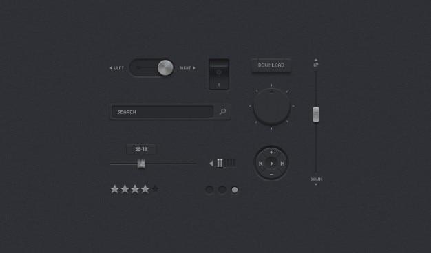 Темные пользовательский интерфейс ui темные комплект подробных psd