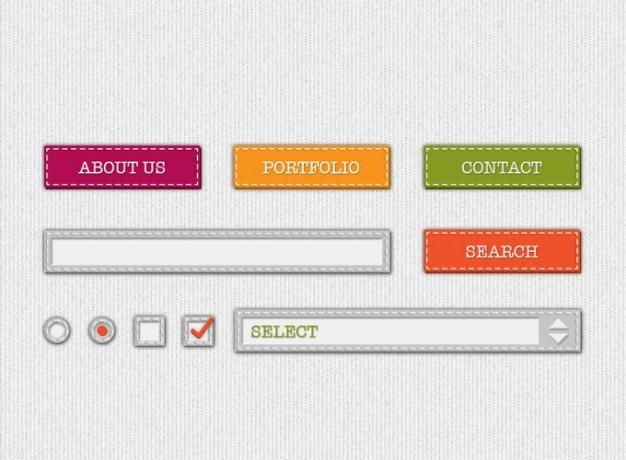 Uiキットをステッチラジオボタン検索ボタンダウンチェックボックスの色のドロップ