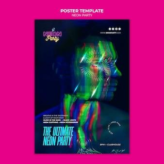 Il modello di poster per feste notturne al neon definitivo