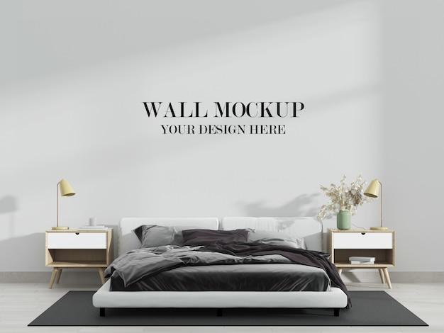 超モダンな寝室の壁のモックアップ