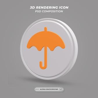 Значок зонтика в 3d-рендеринге Premium Psd