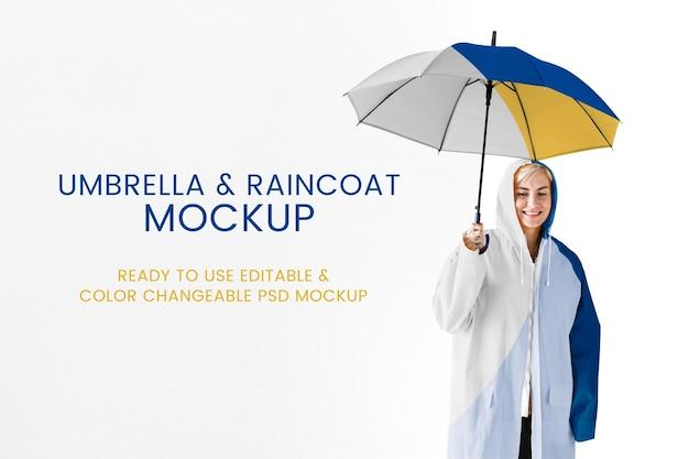 Umbrella and raincoat mockup psd for rainy season apparel