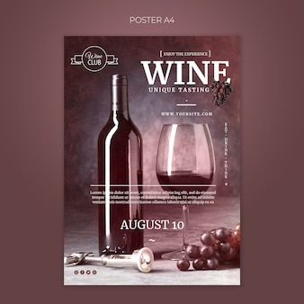 Unique wine tasting poster template