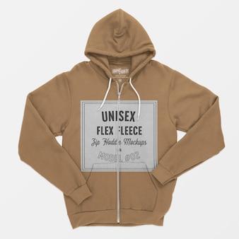 Unisex flex fleece zip hoodie mockup