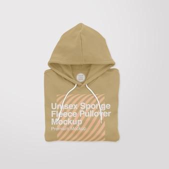 Unisex sponge fleece folded pullover mockup