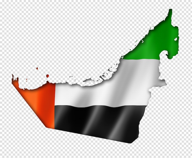 Флаг объединенных арабских эмиратов на карте