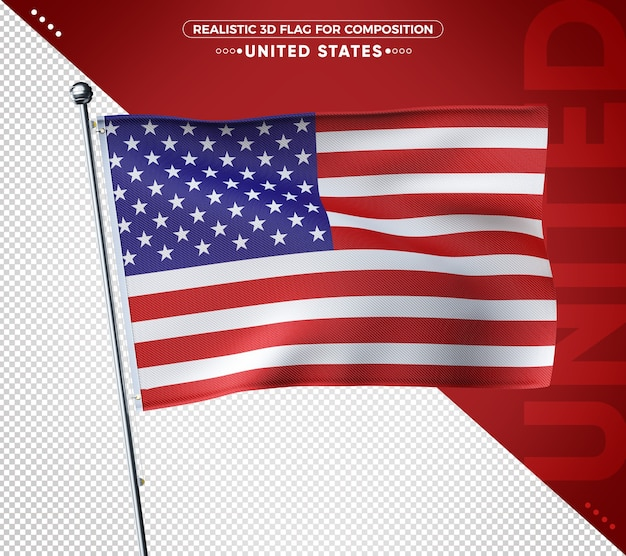 Реалистичный 3d текстурированный флаг сша для композиции