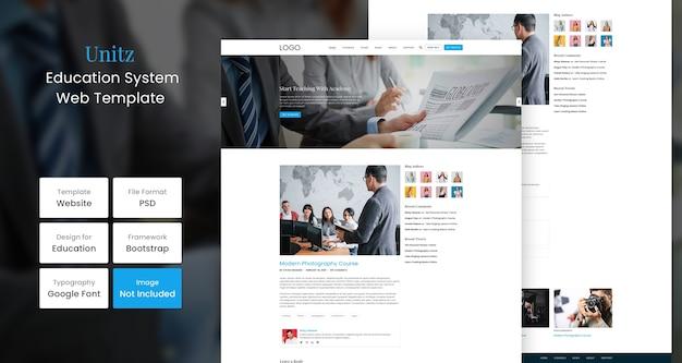 Шаблон дизайна образовательного веб-сайта unitz