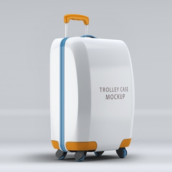 Universal wheel luggage upright mockup isolated