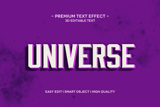 Universe 3d text style effect text template