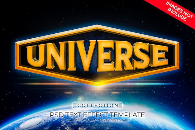 Universe text effect 3d custom