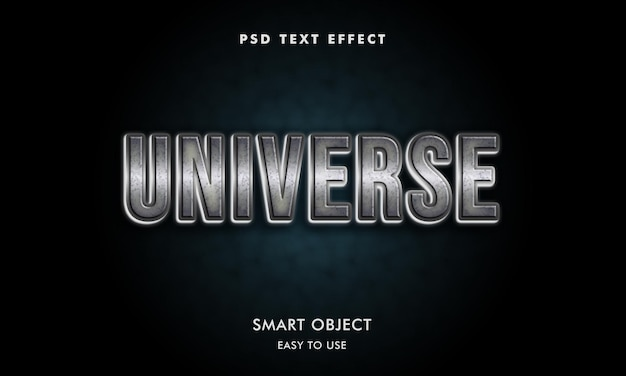 Universe text effect template with dark background